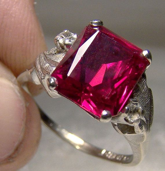 10k White Gold Synthetic Ruby White Sapphires Ring 1960s Etsy White Sapphire Ring Synthetic Ruby White Sapphire