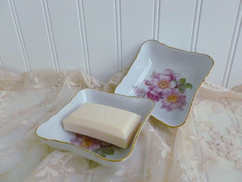 Schumann Arzberg Germany E R Wild Rose Soap Dish Set Of 2 Bavaria Square Dishes Flowers Pink Purple Gift Bath Simple Bathroom Bathroom Decor Decor
