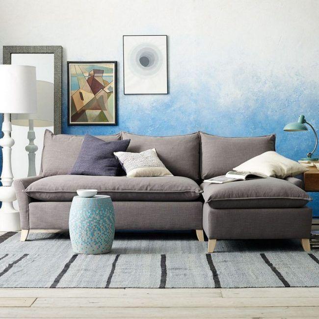 Zweifarbige Wandgestaltung Ombre Wand Streichen Technik Blau Weiss  Wohnzimmer