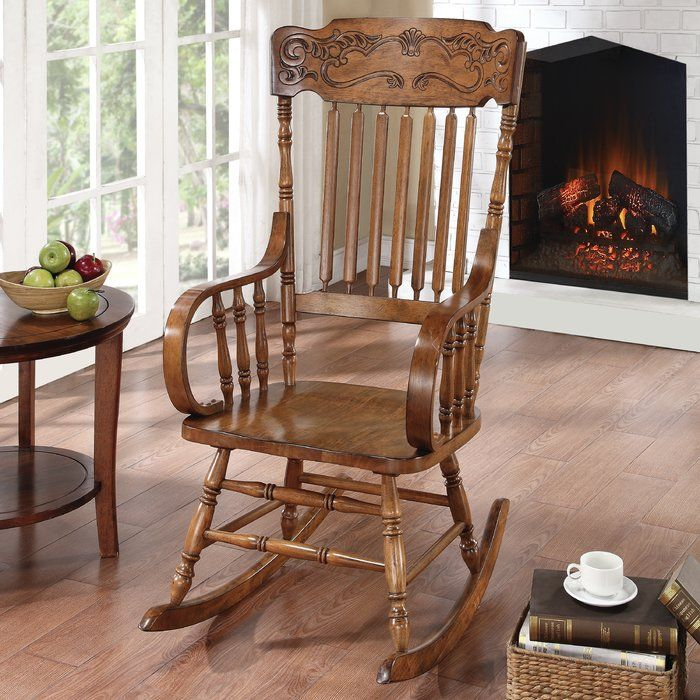 Dotson Rocker Chair Wooden rocking chairs, Rocking chair