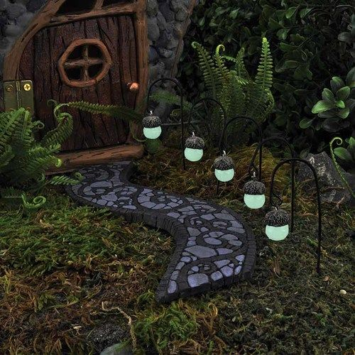 Miniature Glow-in-Dark Acorn Path Lights - Set of Five -   24 fairy garden drawing ideas