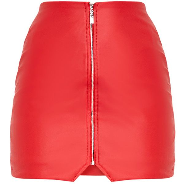 2b53ef6a5b69 Suzy Red Faux Leather Zip Front Mini Skirt ( 32) ❤ liked on Polyvore  featuring skirts