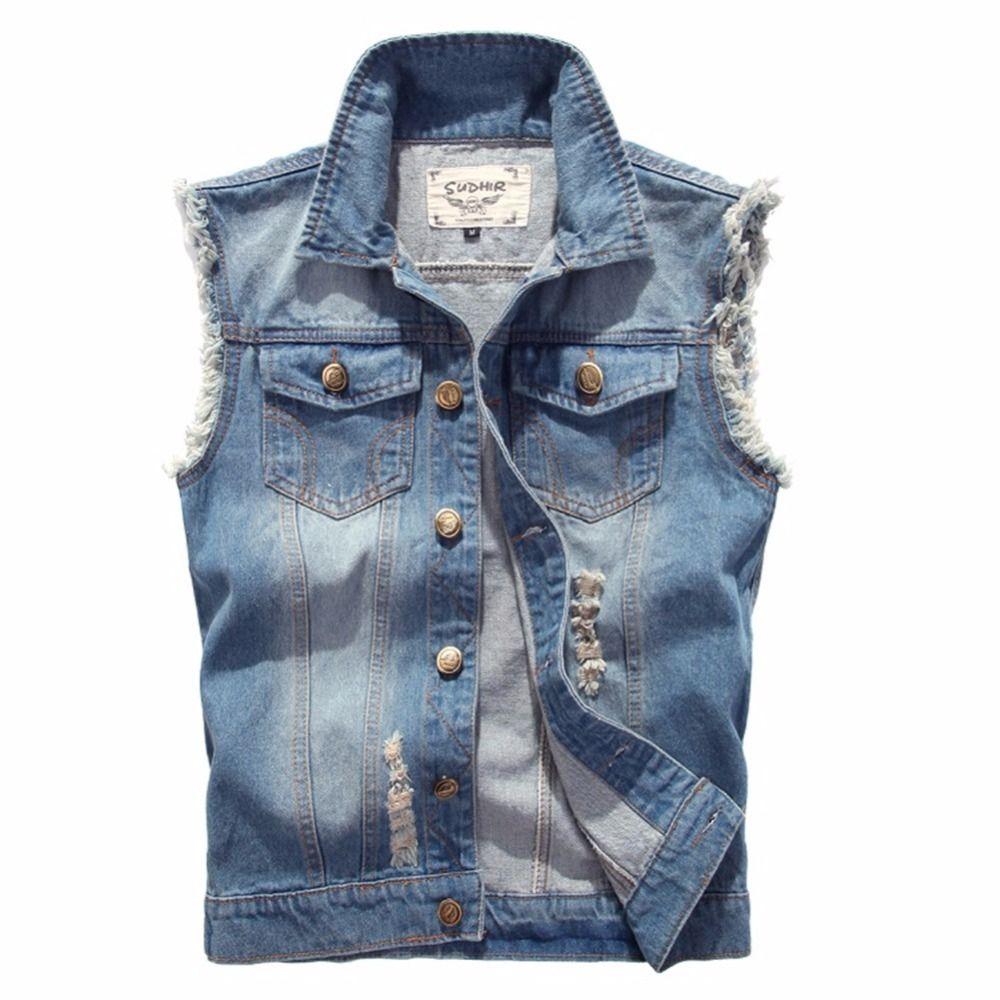 Women Ripped Denim Vest Short Jeans Waistcoat Cowboy Sleeveless Blue Coat Jacket