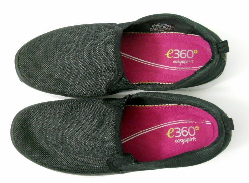 Easy Spirit e360+ Sammi Black Shoes 7W Canvas Slip On Boat Deck Shoe Loafer #EasySpirit360 #Loafers #Casual