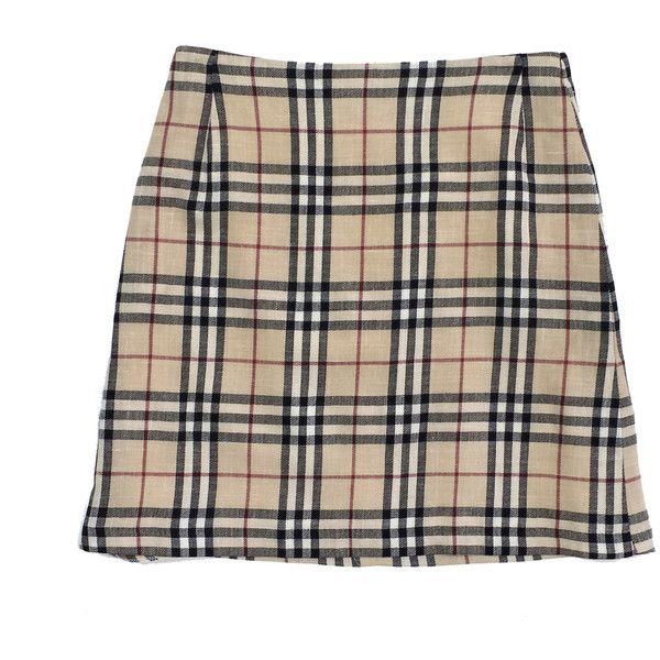 Pre-owned Burberry Beige Wool & Linen Signature Plaid Skirt ($159 ...