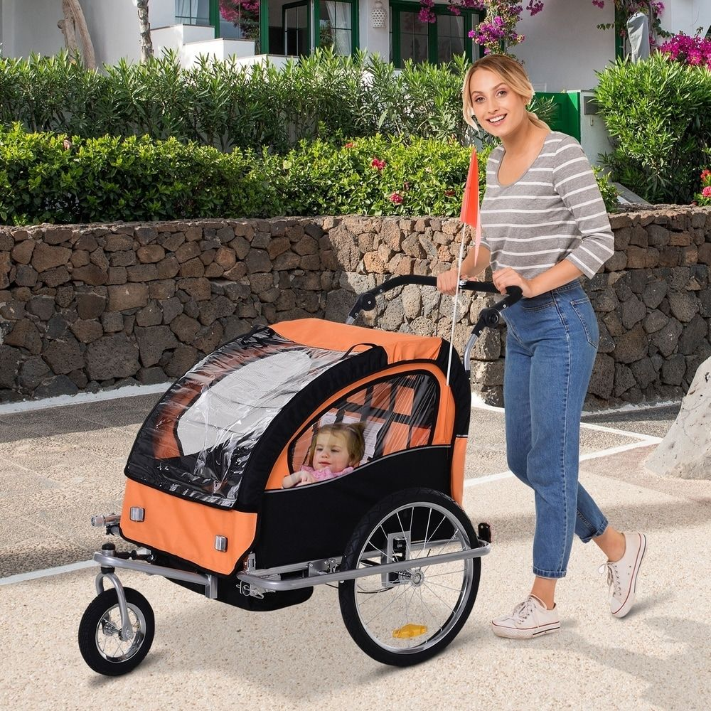Aosom Elite 2Seat Kid Bicycle Trailer / Jogger with