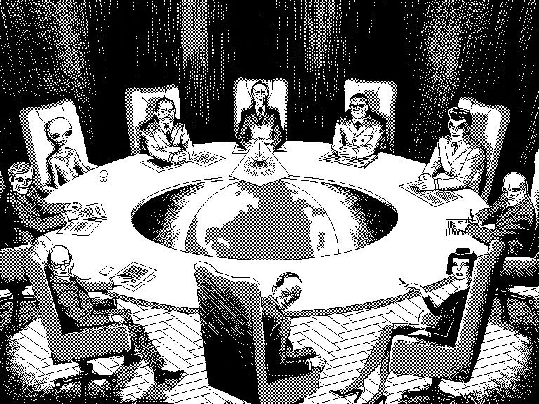 Members of a secret society, and an alien, sitting around a table with a globe in the middle. The Illuminati pyramid is sitting above the globe.