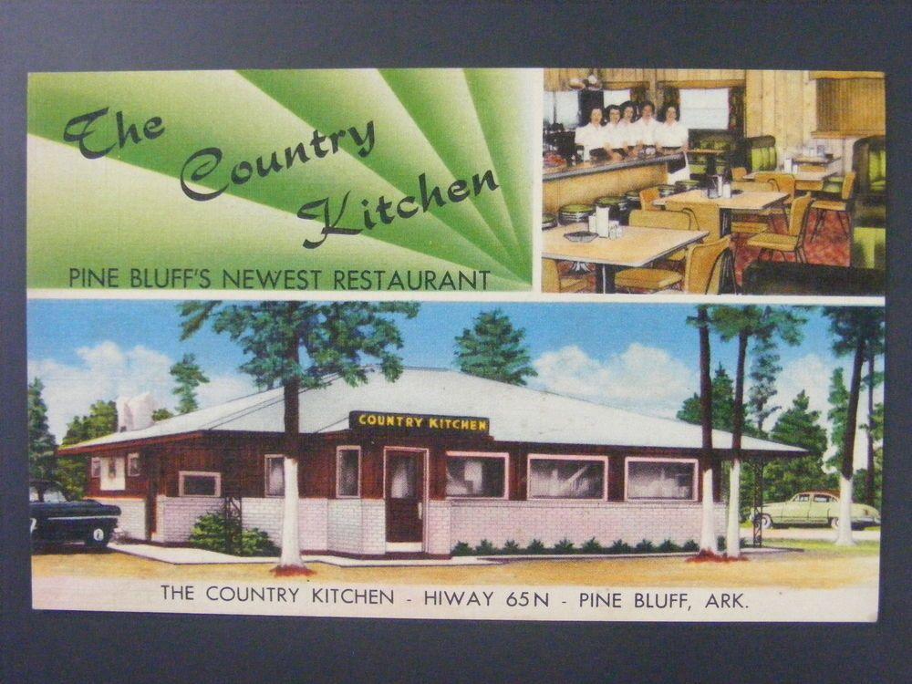 Details About Pine Bluff Arkansas The Country Kitchen Restaurant Linen Postcard 1940s Vintage