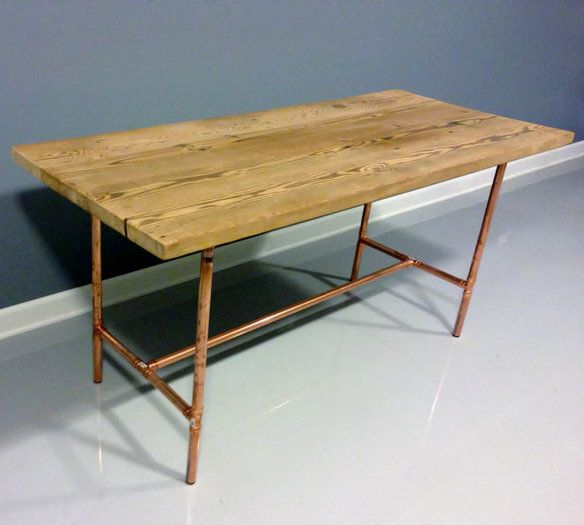 Copper Pipe Furniture reclaimed wood table copper industrial pipe legs | wood/copper