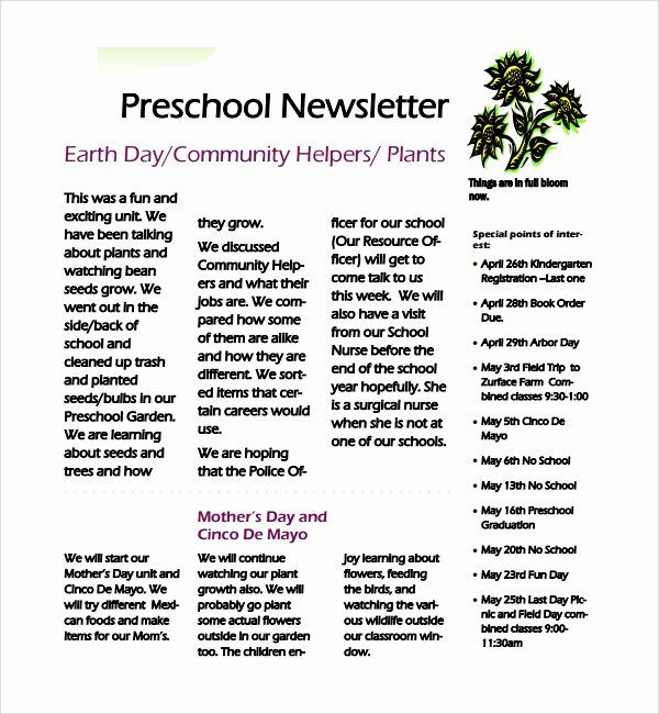 Preschool Newsletter Template Word New 8 Best Preschool