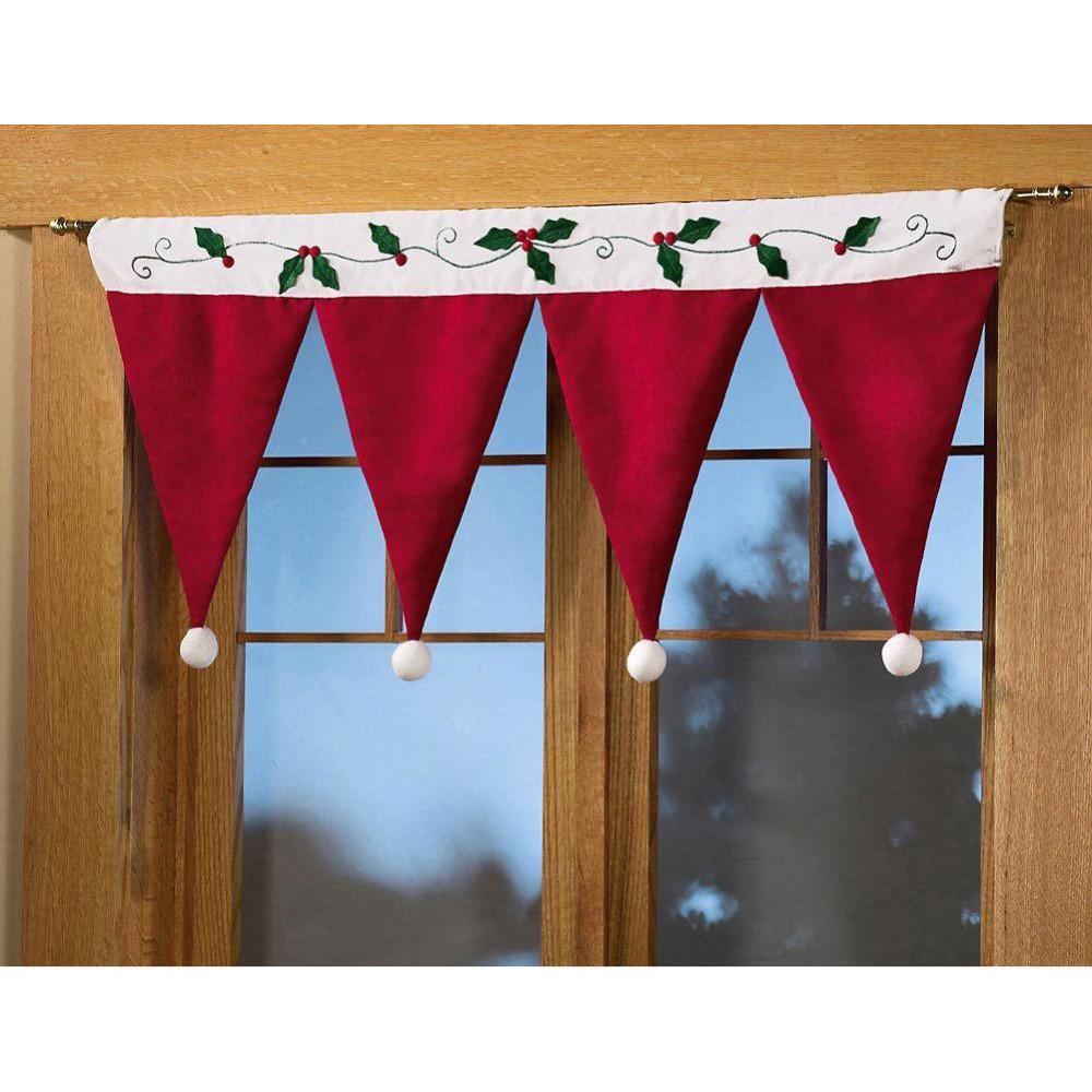 Christmas window decor  santa claus hat cap valances for home decor door window drape panel
