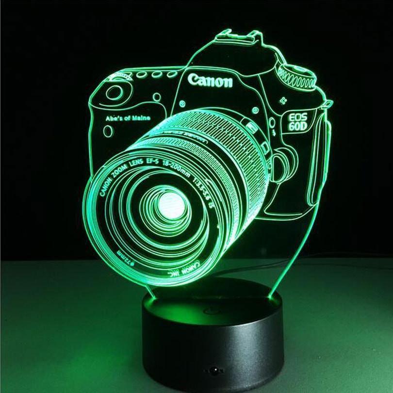 3d Camera Dslr 7 Color Changeable Led Lamp Veilleuse Lampes De Nuit Deco Led