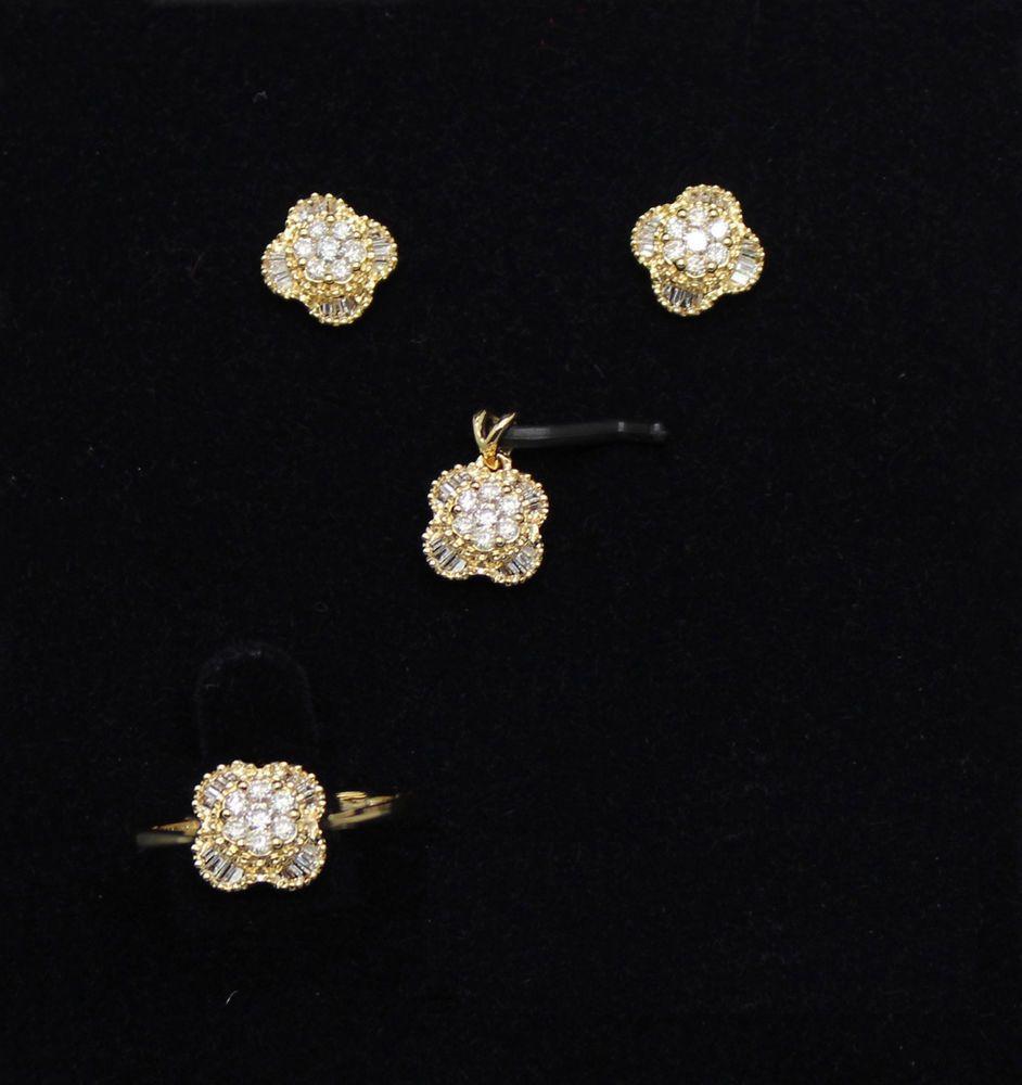 Round u baguette real diamond ring earrings pendant set solid k