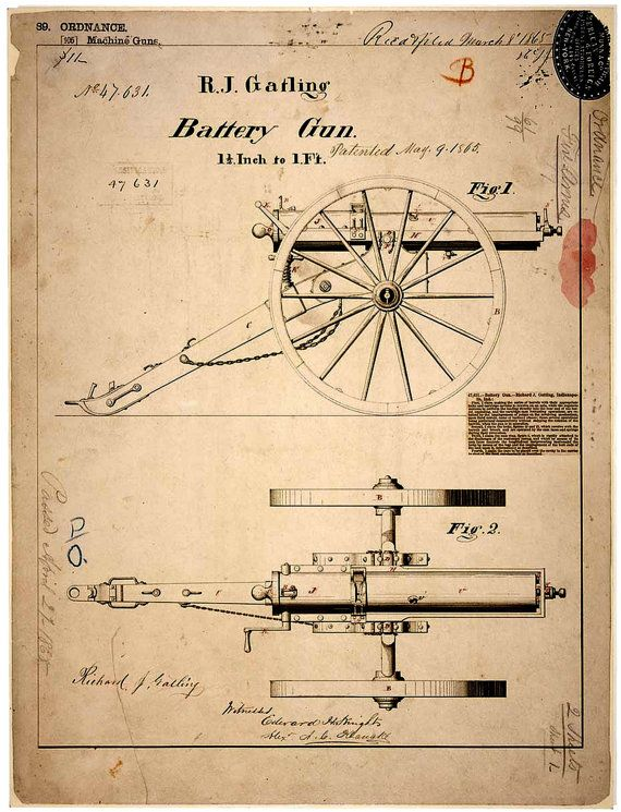 Poster art print vintage gatling gun blueprint 8 x 10 poster artprintvintagegatlinggunblueprint4 malvernweather Image collections