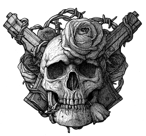Skull And Guns Unfinished By Ifinch On Deviantart: Skull, Guns And Roses By DariusM1993 On DeviantArt