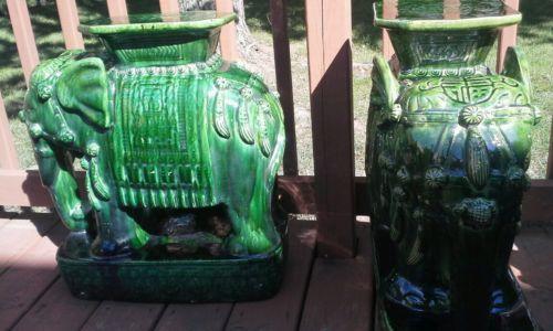 Marvelous Garden Seats Antique Ceramic Green Elephant Set Green Spiritservingveterans Wood Chair Design Ideas Spiritservingveteransorg