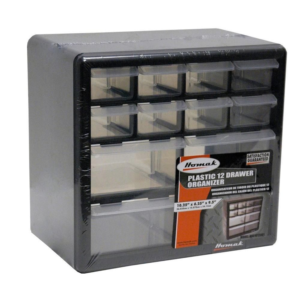 Homak 12 Compartment Non Stackable Small Part Organizer In Black