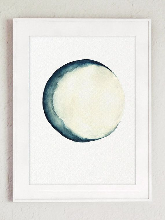 Full Moon Watercolor Painting Blue Cream Bedroom Decor Fairy
