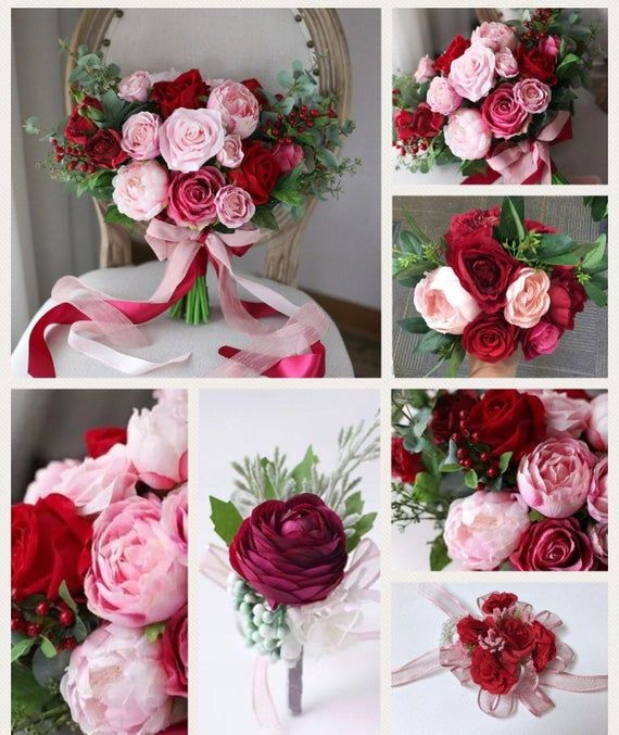 Burgundy Wedding Bouquet, Bridal Bouquet Package, Burgundy and Blush Wedding Flowers, Silk Bouquet, Artificial Wedding Bouquet #pinkbridalbouquets