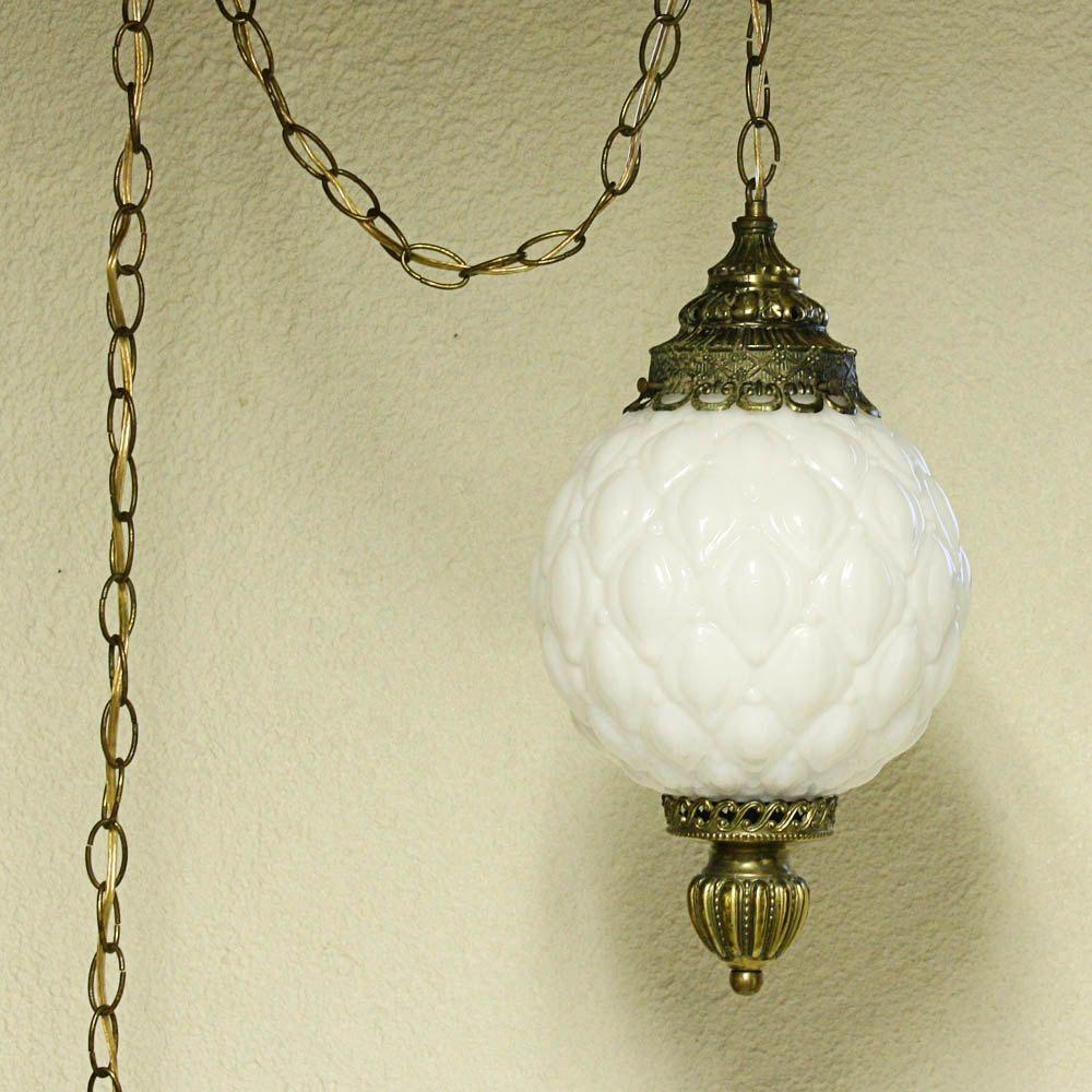 Vintage hanging light - hanging lamp - milk glass globe ...