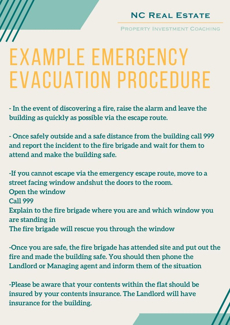 Here's an example of a Fire Emergency Evacuation Procedure ...