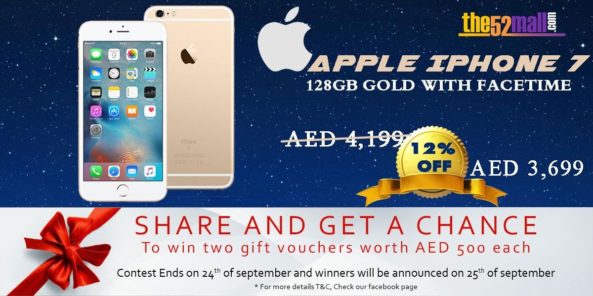 Buy Now Apple iPhone 7 128Gb Gold with Facetime The52Mall.COM http://bit.ly/2dapMxO