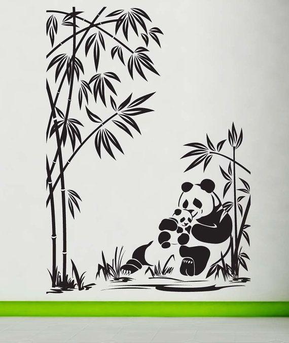 Panda Mom Dad Baby Bamboo Decal Sticker Vinyl Wall Home - Vinyl wall decals bamboo