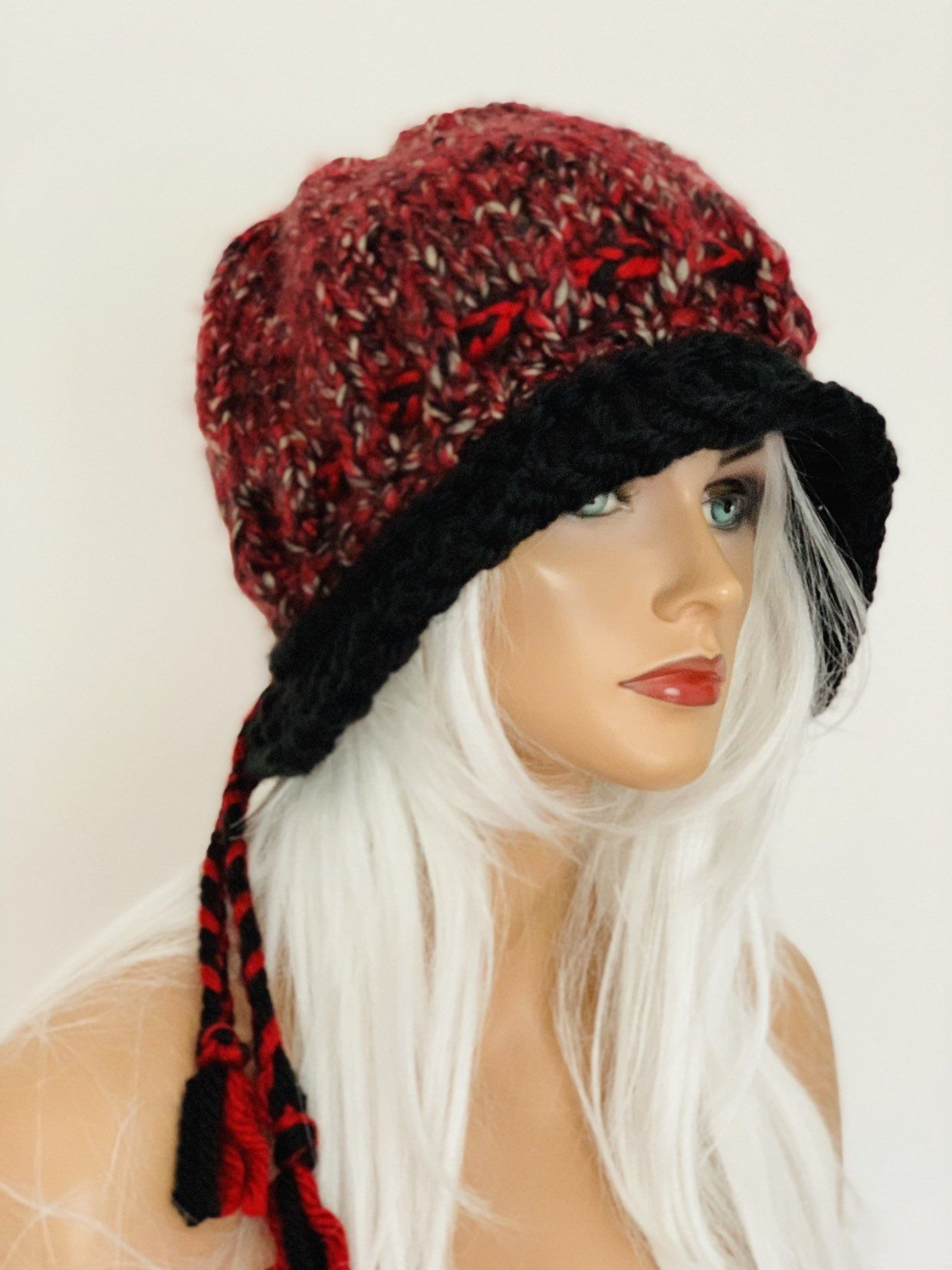 a6e9ea057b6 Excited to share this item from my  etsy shop  Hand Knits 2 Love Hat With  Valance Beanie Cap Slouch Adjustable Fit Designer Fashion Burgundy Black  Beige ...