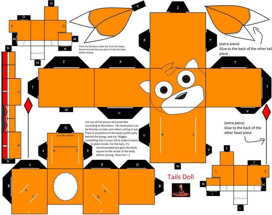الگو جعبه در شكل ها و اشكال هاي مختلف Tails doll, Sonic art