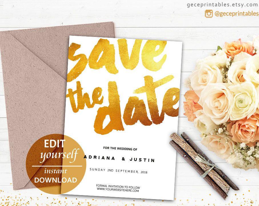 Formal Invitation Templates Printable Gold Save The Date Invite Editable Pdf Wedding Template .
