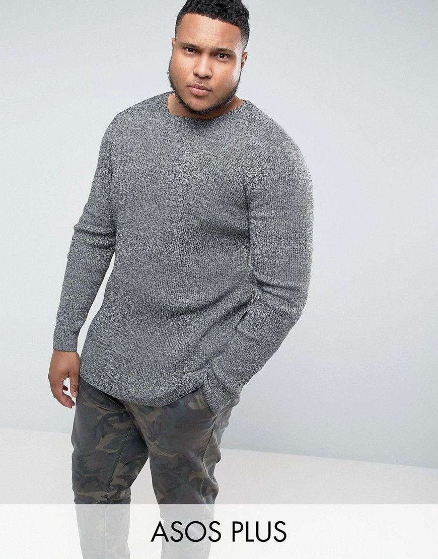 4d835958 PLUS Longline Muscle Fit Ribbed Sweater In Black & White Twist | Men ...