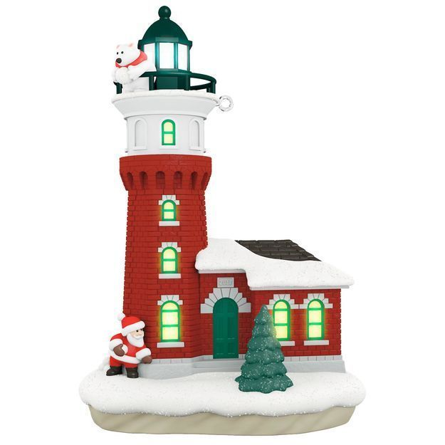 holiday lighthouse santa polar bear 2017 hallmark magic cord light ornament 6