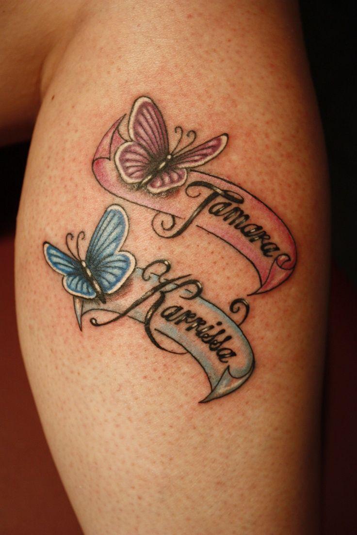 Mariposas con Lazos con Nombre de Hijos Tatuajes para Mujeres