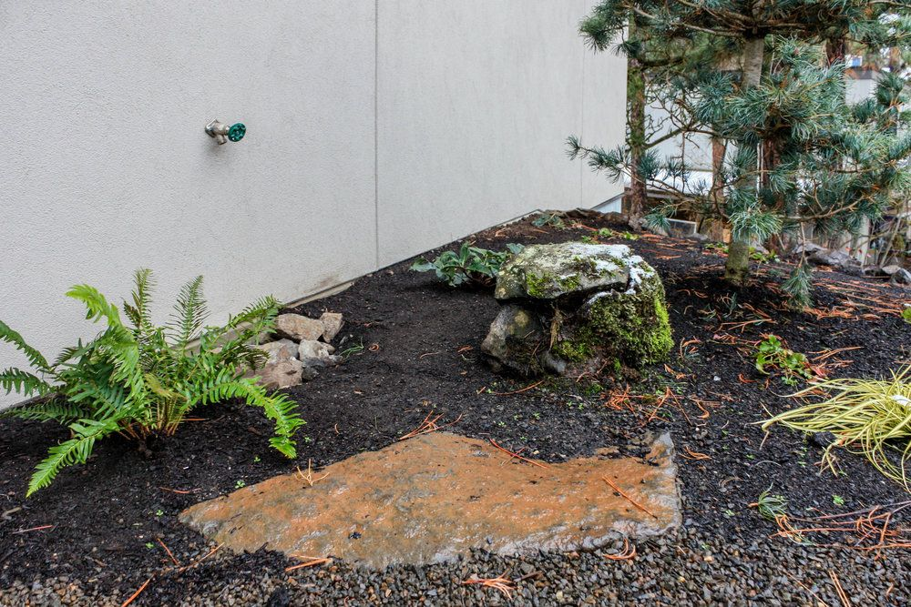 rock features in planting bed Pacific garden, Landscape
