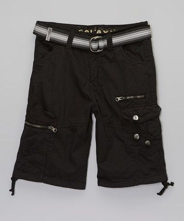 Another great find on #zulily! Black Belted Cargo Shorts - Boys #zulilyfinds