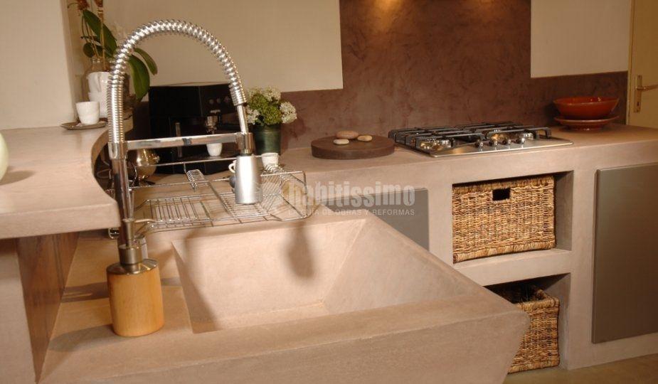 Cocina de cemento pulido en tono claro!!! Otra muestra de la