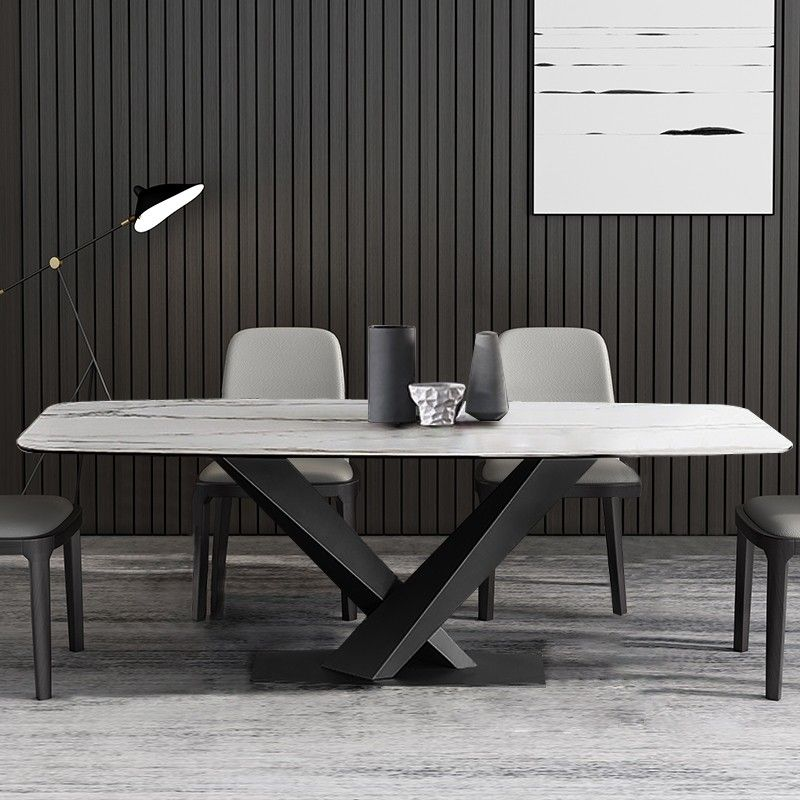 Modern Rectangular 63 Dining Table Black Dining Table Marble Faux Marble Dining Table