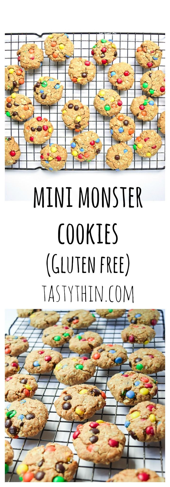 Mini Monster Cookies - With no butter/oil, refined sugar, or flour, these bite-sized Monster Cookies are the perfect healthier treat!   http://tastythin.com