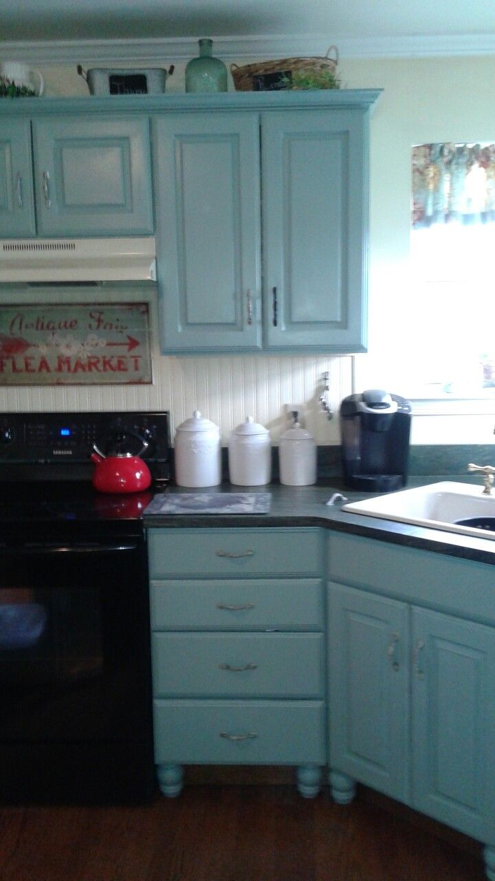 I painted my kitchen cabinets Benjamin Moore -Stratton Blue. Love ...