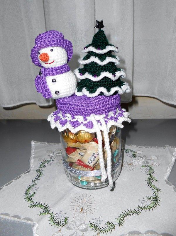 Häkelanleitung Geschenkglas Weihnachten | Crochet jar lids and boxes ...