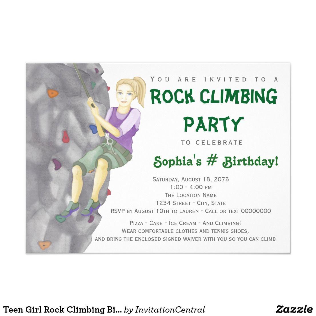 Teen Girl Rock Climbing Birthday Party Invitations | Pinterest ...