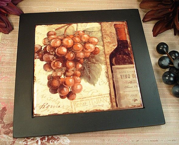 8x8 Ceramic Trivet Grape And Bottle