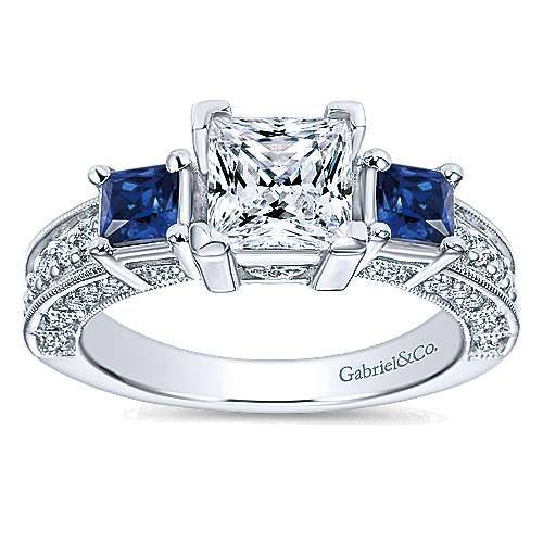 Vintage Inspired 14K White Gold Princess Cut Three Stone Sapphire and Diamond Engagement Ring