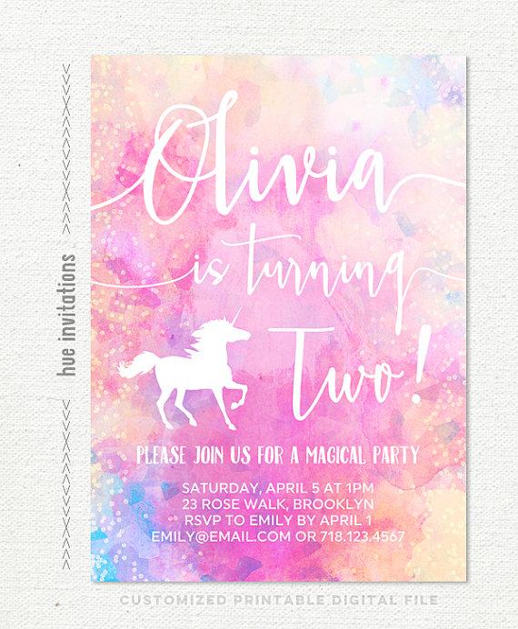 unicorn 2nd birthday invitation girls rainbow by hueinvitations C