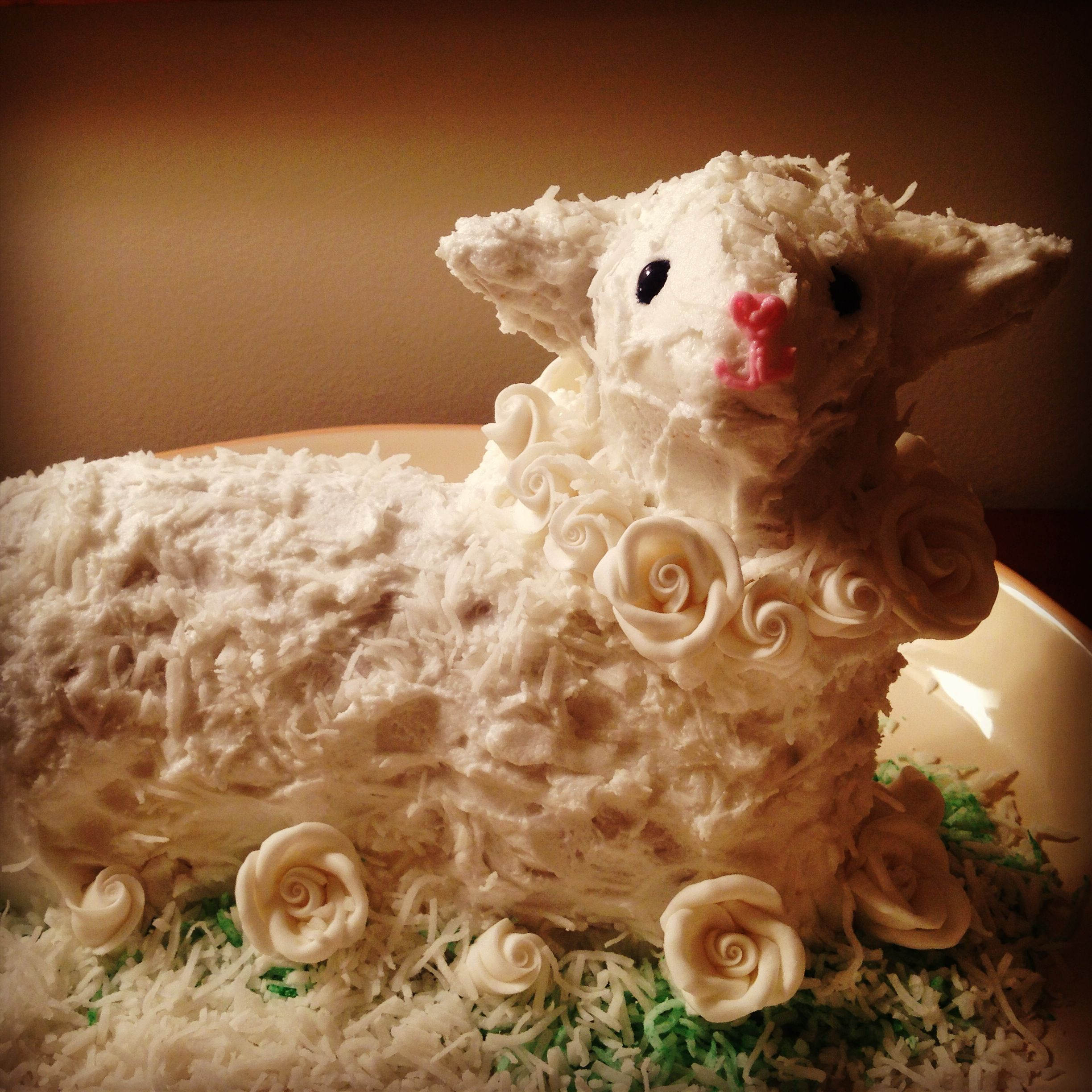 Easter lamb cake using a vintage griswold cast iron mold
