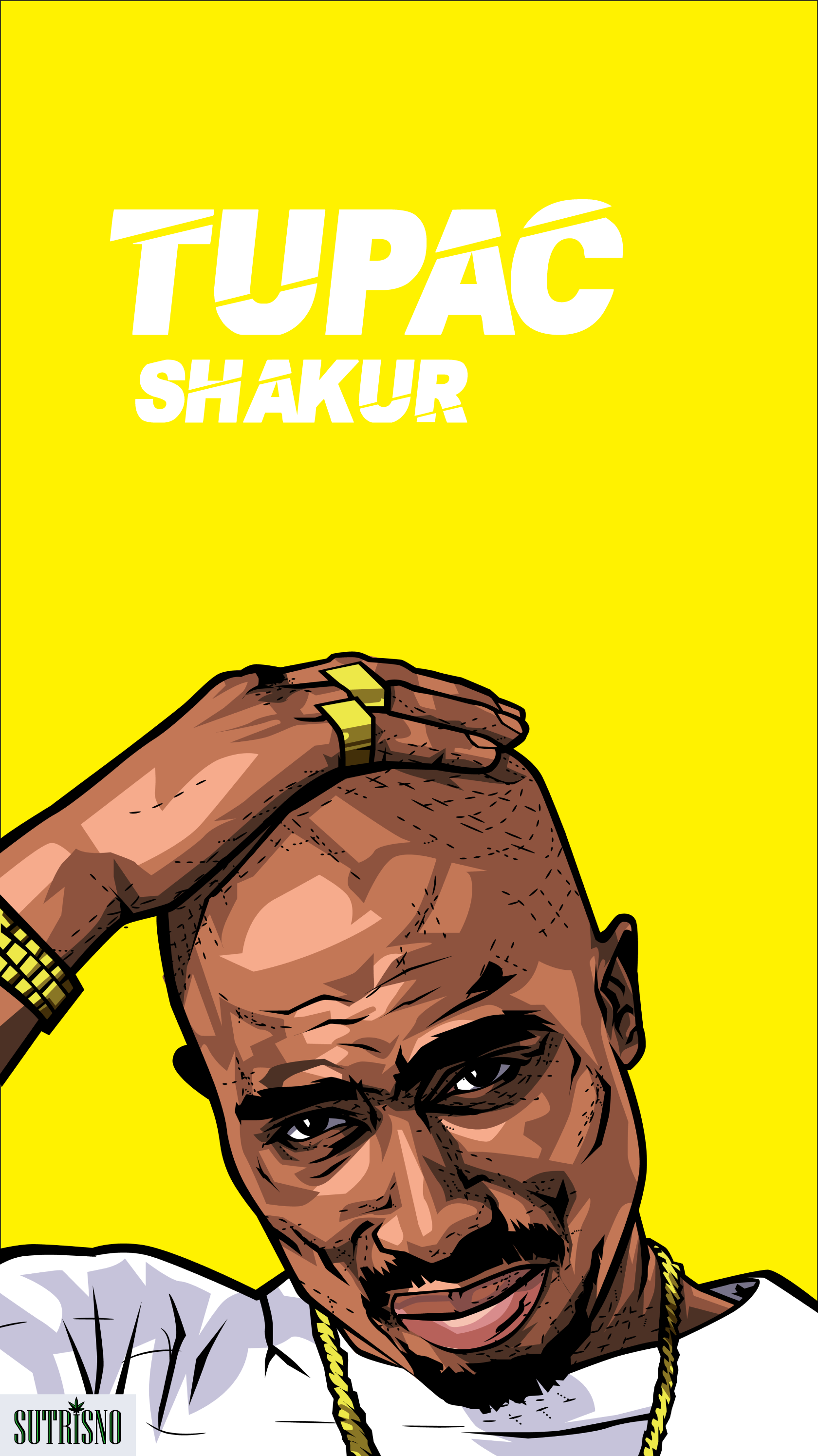 Tupac cartoon by Sutrisno for your phone wallpaper it's