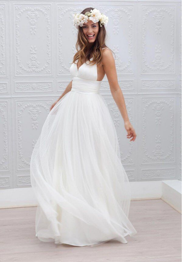 Simple Beach Wedding Dress Summer Coast White A Line Dresses Ok107