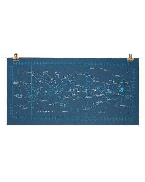 Apollo  Moon Landing Star Chart Poster Screen Print Night  Art