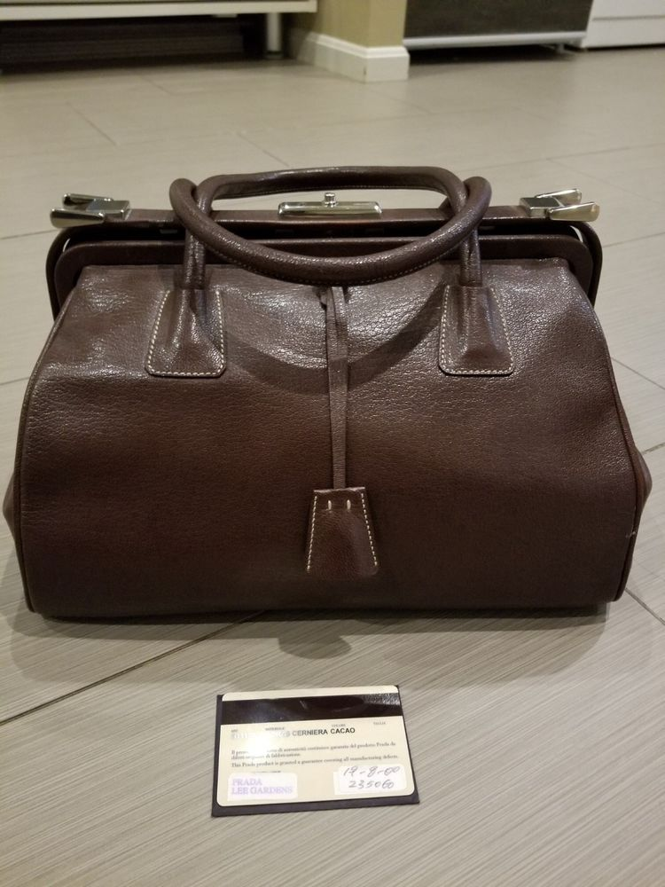 292a726f9a7dde Authentic PRADA Cacao Leather Madras Cerniera Doctor Bag Vintage Collection  #fashion #clothing #shoes #accessories #womensbagshandbags #ad (ebay link)
