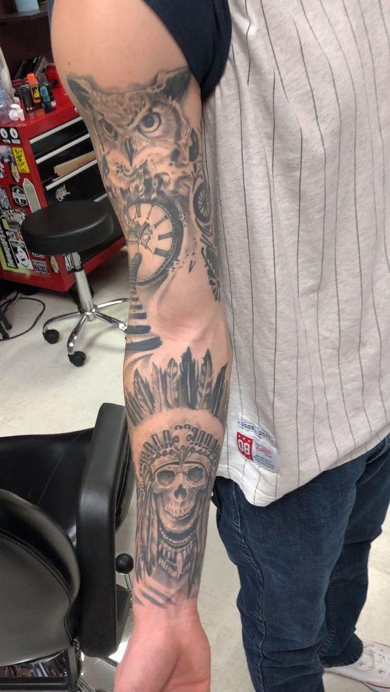Completed Sleeve Tattoo -  Completed Sleeve Tattoo. By: Jesus Sanchez #tattoo #sleevetattoo #armtattoo #tattoosleeve #blackand - #completed #countrytattooformen #nametattooideas #sleeve #tattoo #tattooformenonleg